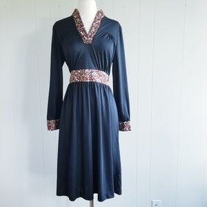 1970s Unlabeled Black, Floral, Poly Midi Dress